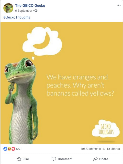 Geico Gecko Mascot Social Media