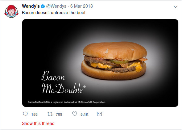 Wendy's roasting McDonald's