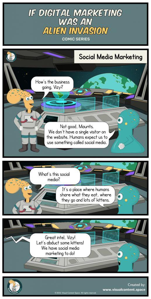 Digital Marketing As An Alien Invasion, Social Media Marketing, funny