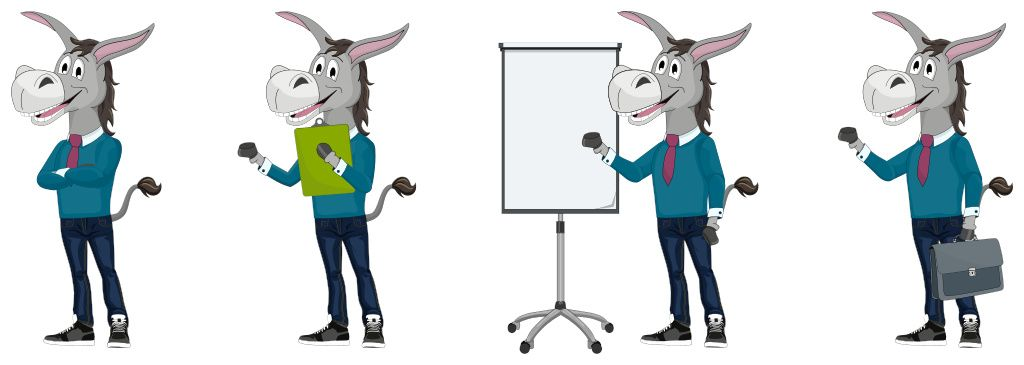 Brand Mascot Design Poses, Business Donkey with briefcase and flipchart